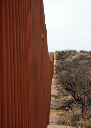 A border wall in the desert